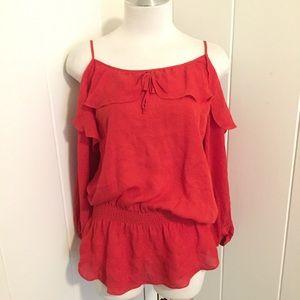 Parker silk blouse in red cold shoulder